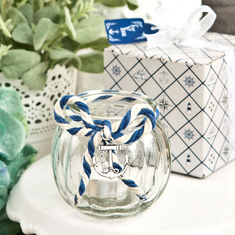 Anchor Nautical Themed Glass Globe Candle Holder
