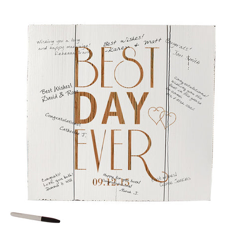 Best Day Ever Wood Art Guest Book Alternative