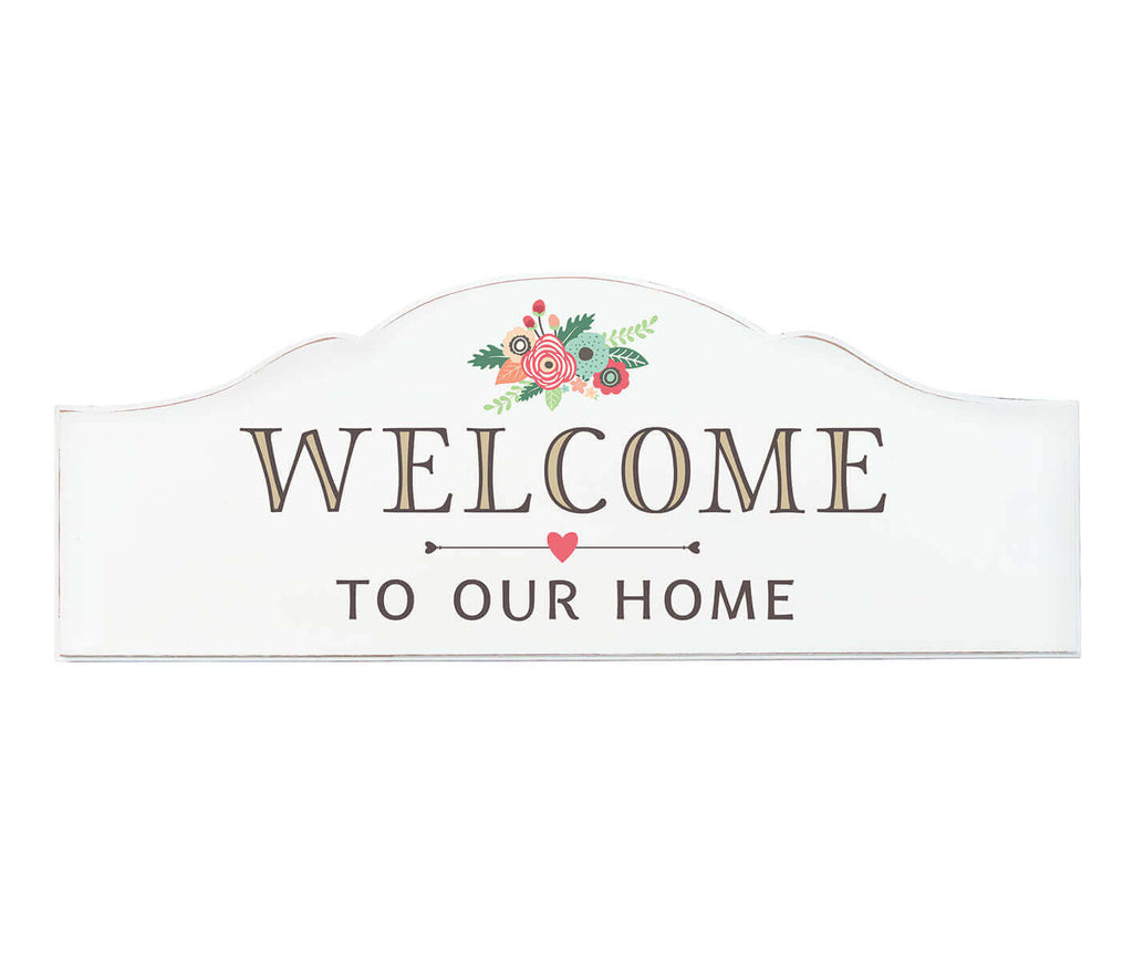 "White Rustic ""Welcome to Our Home"" Sign"