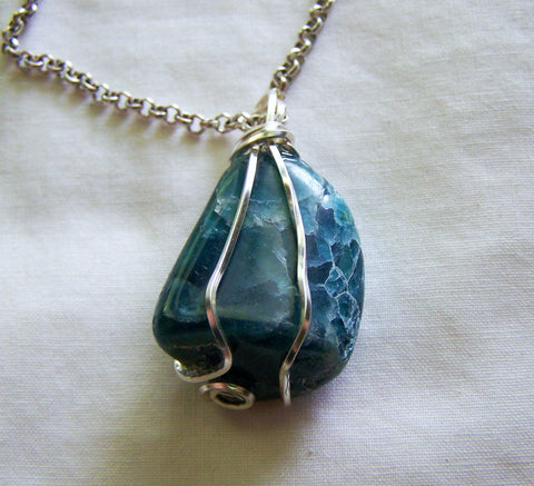 Natural Blue Apatite Crystal Wire Wrapped Pendant Necklace