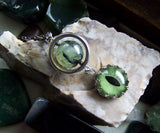 Green Cat's Eye Silver Satellite Prehnite Pendant Necklace