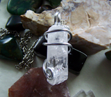 Natural Danburite Gemstone Wire Wrapped Crystal Pendant Necklace
