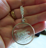 Floating Crystals Natural Aquamarine Gemstones Double Sided Glass Locket