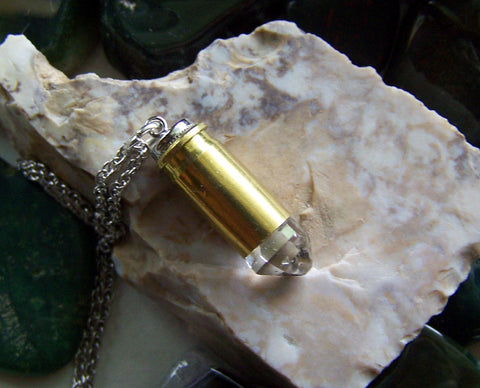 Herkimer Diamond Natural Crystal Bullet Pendant Necklace