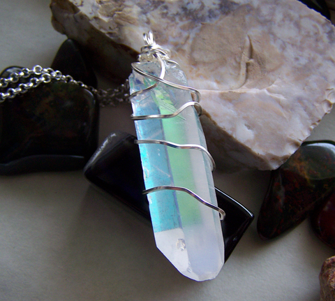 Opal Aura Large Quartz Crystal Point Wire Wrapped Pendant Necklace