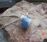 Natural Blue Opal Raw Gemstone Pendant Necklace