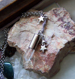 Natural Quartz Silver Stars Bullet Jewelry Pendant Necklace