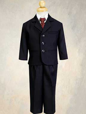 5 Piece Navy Blue Pin-Striped Suit with Burgundy Tie Size 8 to 14