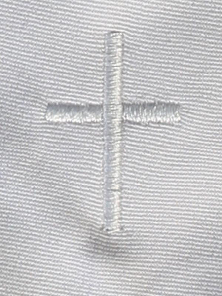 White Zipper Tie with Embroidered Cross - LT-EM3