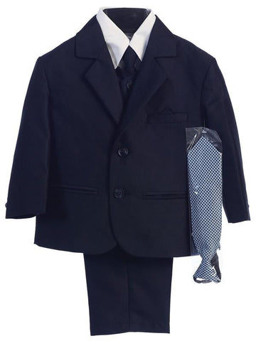 Navy Two Button Herringbone Pattern Suit - LT-3805-N