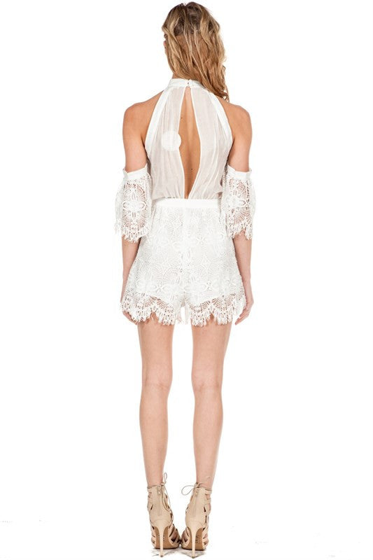 Off-Shoulder Lace Detail Romper White -  - Romper - COME SHOP WITH LOVE - 2