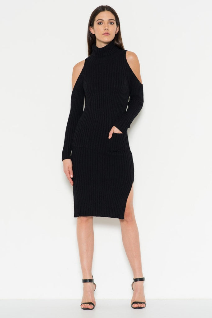 Cutout Shoulder Dress with Side Slits in Black