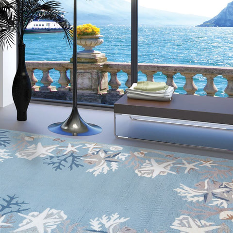 Coral Reef Coastal Outdoor Rug - By the Sea Beach Decor