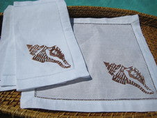 Brown Conch Shell Linen Napkin Set - By the Sea Beach Decor