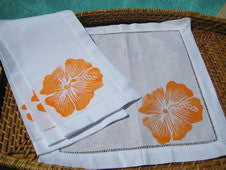 Orange Hibiscus Beach Decor Linen Napkin Set
