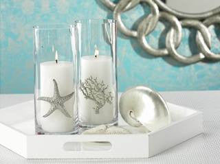 Silver Sealife Cylinder Beach Candleholder