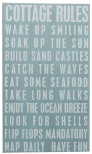 Cottage Rules Coastal Decor Sign - By the Sea Beach Decor