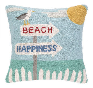 Beach Happiness Hook Pillow - By the Sea Beach Decor