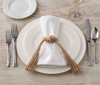 Jute Tassel Napkin Ring Set - By the Sea Beach Decor
