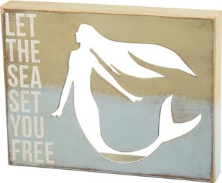 Let the Sea Set You Free Wooden Box Sign - By the Sea Beach Decor