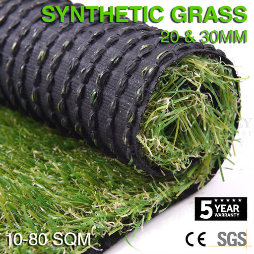 10-80 SQM Synthetic Grass Fake Turf Artificial Mat Plant Lawn Flooring 20mm 30