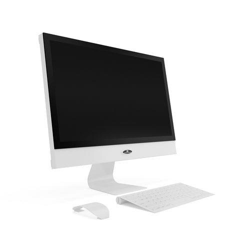21 inch white computer prop with monitor keyboard and mouse