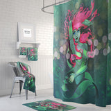 Pink and Sea Green Mermaid Fantasy Shower Curtain by Folk N Funky
