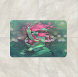 Pink and Sea Green Mermaid Fantasy Shower Curtain by Folk N Funky Bath Mat