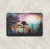 The Forest Sunset Northern Lights bath mat