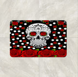 The Red Rose Sugar Skull Bath Mat by Folk N Funky