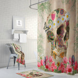 The Retro Boho Hippie Butterfly Gothic Skull Shower Curtain by Folk N Funky