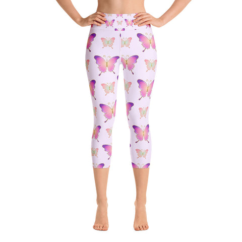 Lavender Butterfly Yoga Capri Leggings
