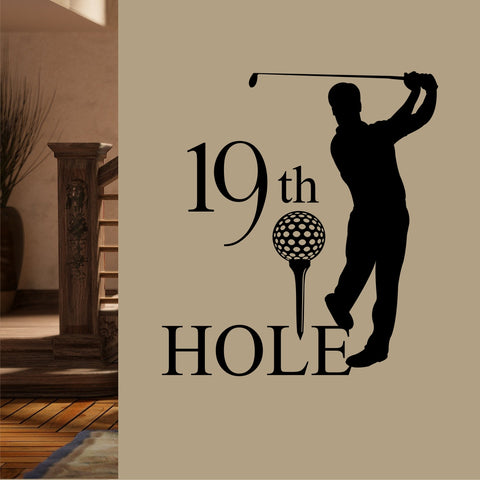 19th Hole Man Golfer | Sports Decal | Vinyl Wall Lettering