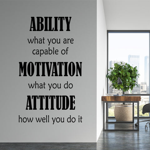 Ability Motivation Attitude | Vinyl Office Decal | Motivate Employees
