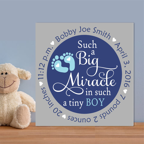 Baby Birth Big Miracle | Nursery Canvas | Hand Painted Canvas