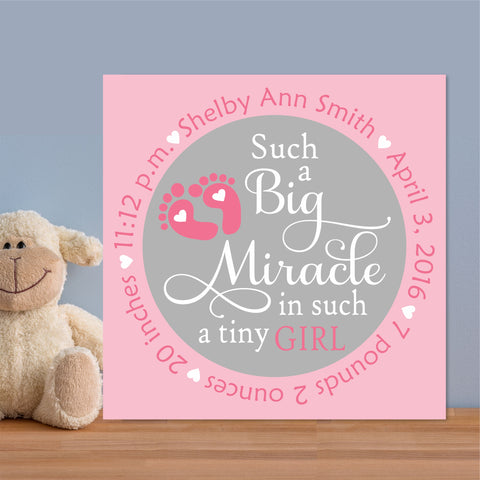 Baby Birth Girl Miracle | Nursery Canvas | Hand Painted Canvas