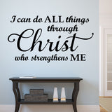 All Things Through Christ | Religious Decal | Christian Vinyl Quote
