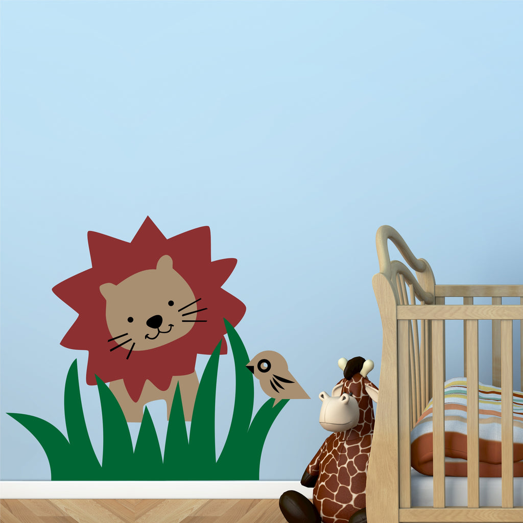 Nursery Zoo Lion Mural Kit | Vinyl Wall Decals | Vinyl Wall Mural