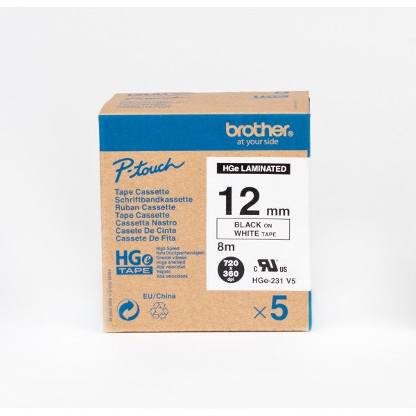 Brother HGe231v5 (12mm) 高速列印 已過膠標籤帶 (五卷裝) 白底黑字 High Grade Laminated Tape (5pc) Black on White - Young Vision - www.yv.com.hk