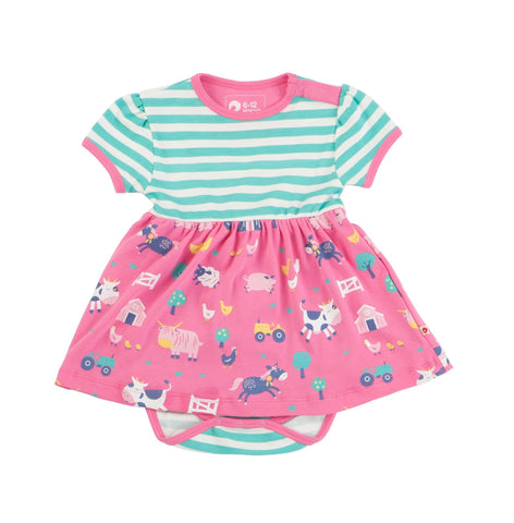 Farmyard print Body Dress. The Little Owl's Nest children's clothing