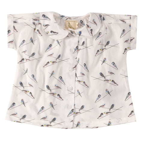 Bird print Peter Pan collared blouse. The Little Owl's Nest Children's Clothing
