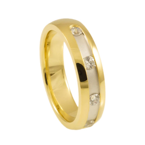Sterling Silver Yellow Gold  Plated  Band Woman vertical view