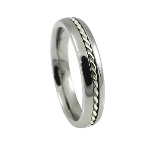 Tungsten Carbide  Ring,Silver Braid,Dome and High Polish, Woman vertical view
