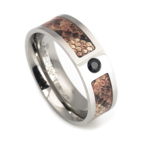 Titanium wedding bands snake skin pattern with black diamond for men vertical view