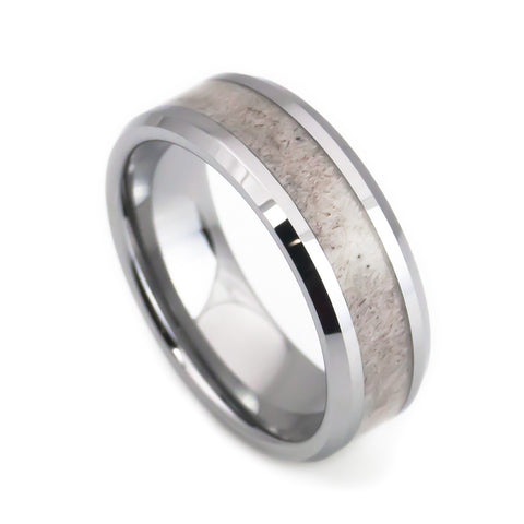 Deer antler ring tungsten wedding band by lena style
