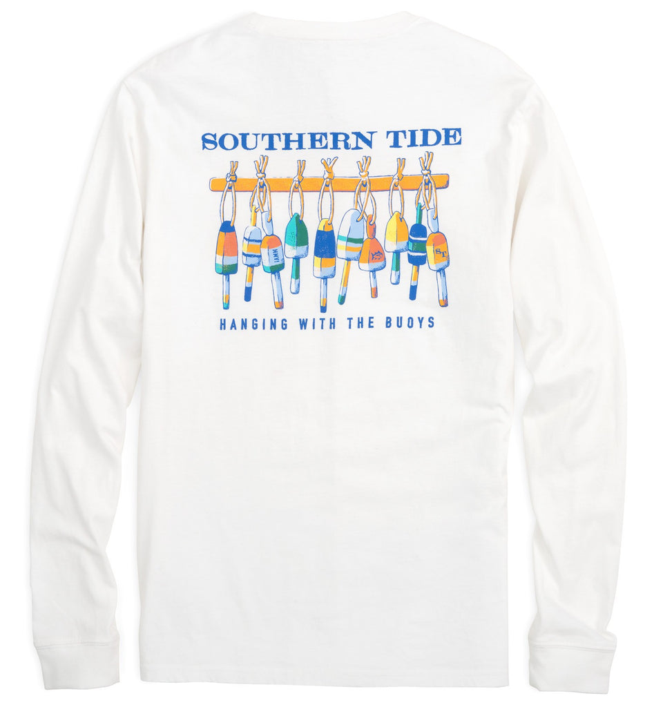 Southern Tide Long Sleeve Hanging With The Buoys T-Shirt - Classic White