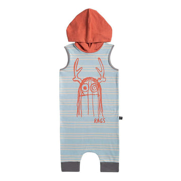Tank Hooded Capri Rag - 'Trinny' - Dusty Blue Stripe