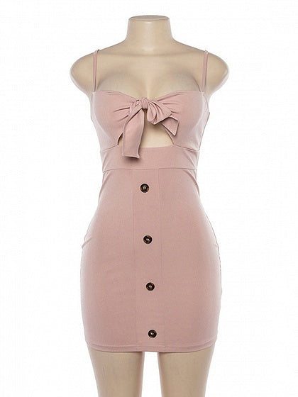 Pink Button Placket Front Women Bodycon Cami Mini Dress