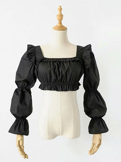 Black Square Neck Frill Trim Puff Sleeve Crop Top