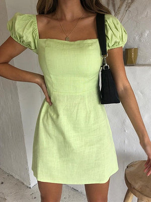 Green Square Neck Puff Sleeve Mini Dress